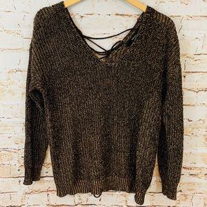 Forever 21 Sweaters - Forever 21 Double V-neck Sweater Lace Up Back